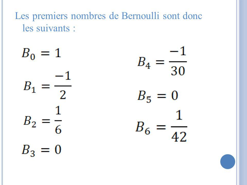 Les premiers nombres de Bernoulli sont donc les suivants :