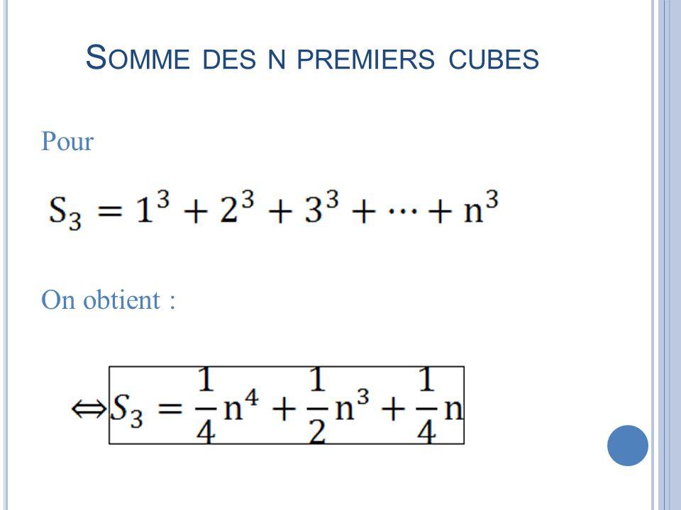 Somme des n premiers cubes