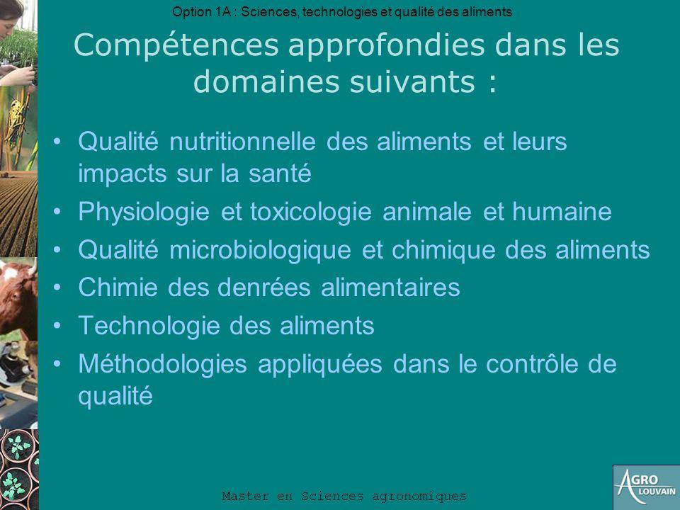 Compétences approfondies dans les domaines suivants :