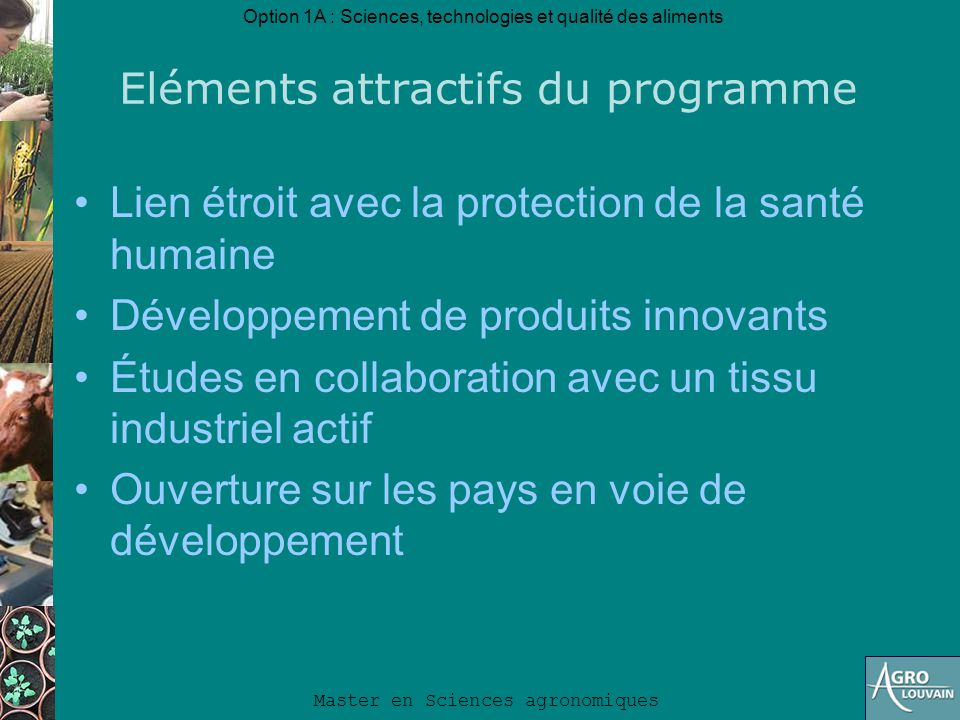 Eléments attractifs du programme