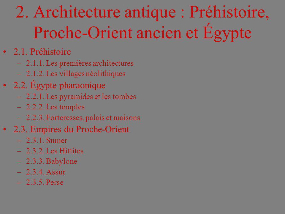 2. Architecture antique : Préhistoire, Proche-Orient ancien et Égypte