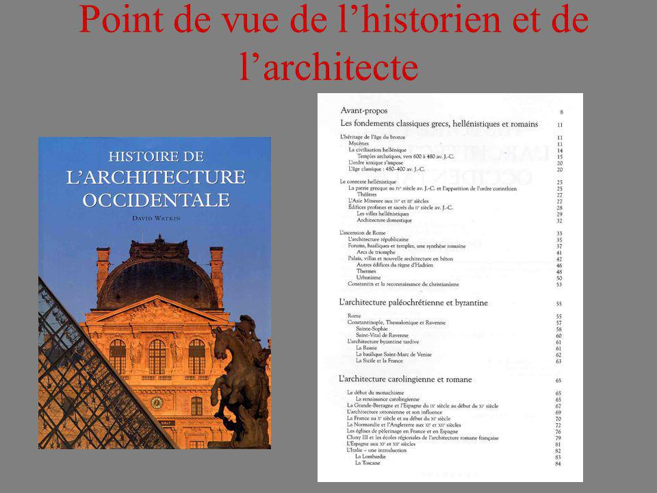 Point de vue de l'historien et de l'architecte