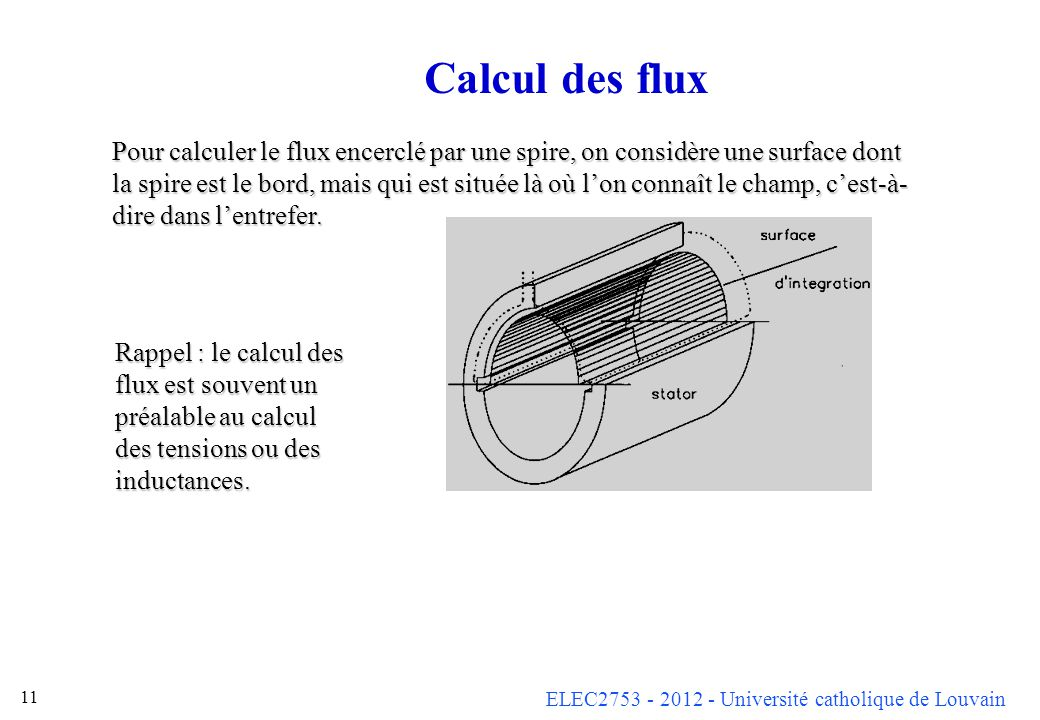 Calcul des flux