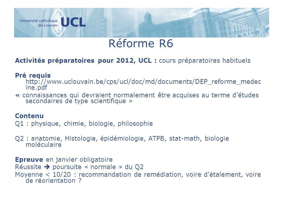 Réforme R6 Activités préparatoires pour 2012, UCL : cours préparatoires habituels.