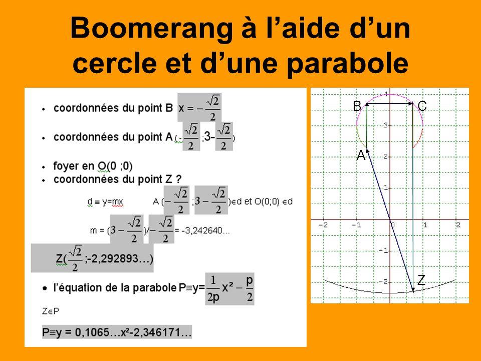 Boomerang à l'aide d'un cercle et d'une parabole