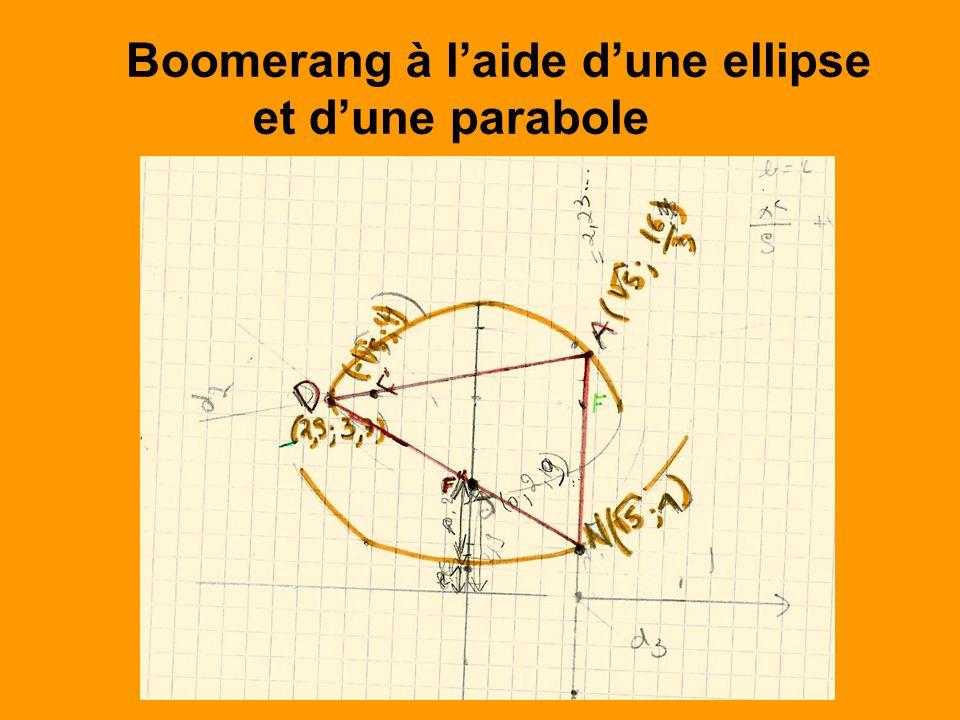 Boomerang à l'aide d'une ellipse et d'une parabole