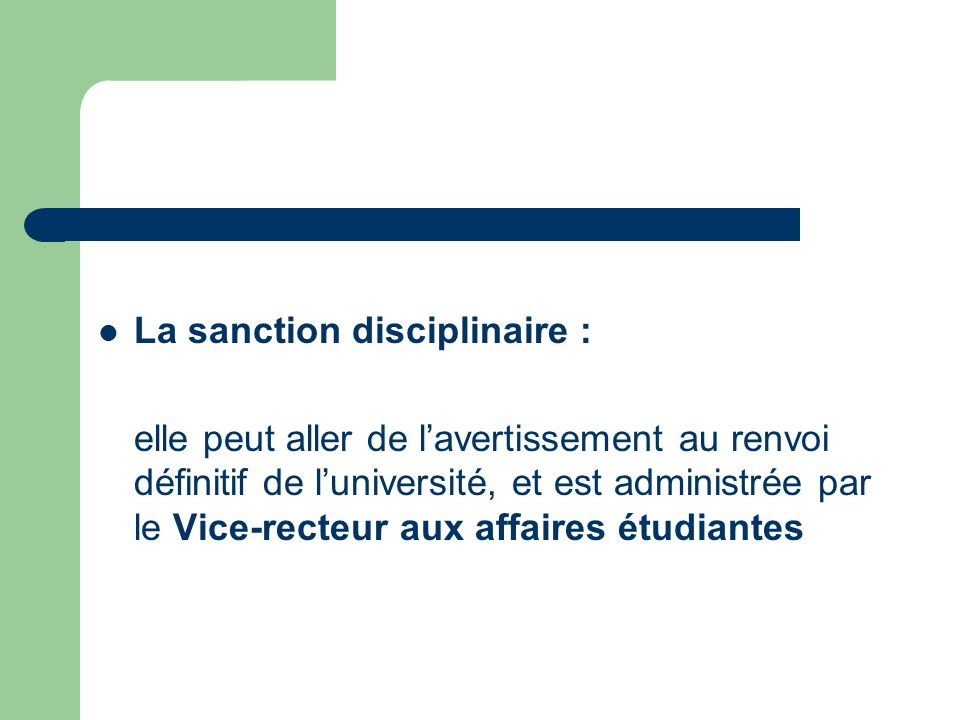 La sanction disciplinaire :