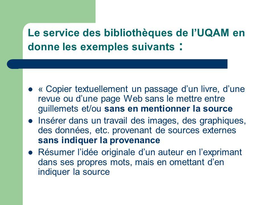 Le service des bibliothèques de l'UQAM en donne les exemples suivants :
