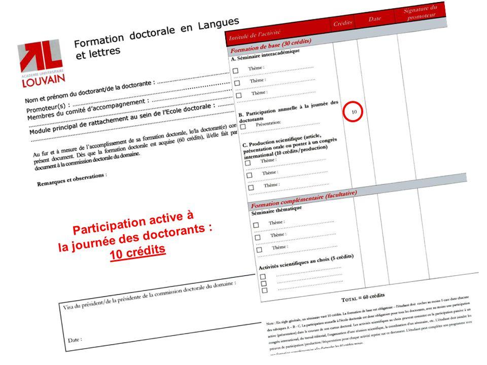Participation active à la journée des doctorants : 10 crédits