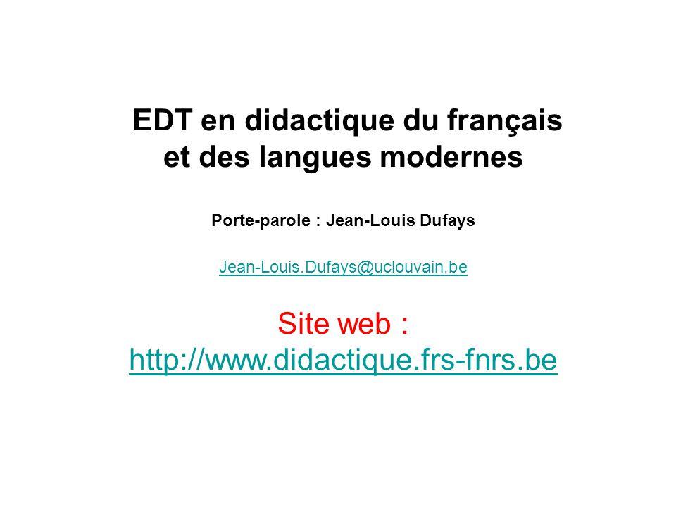 et des langues modernes Porte-parole : Jean-Louis Dufays