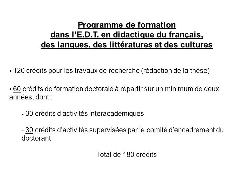 Programme de formation dans l'E.D.T. en didactique du français,