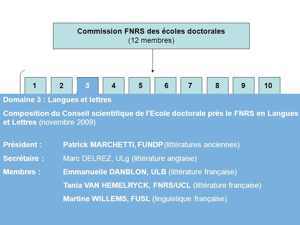 Commission FNRS des écoles doctorales (12 membres)