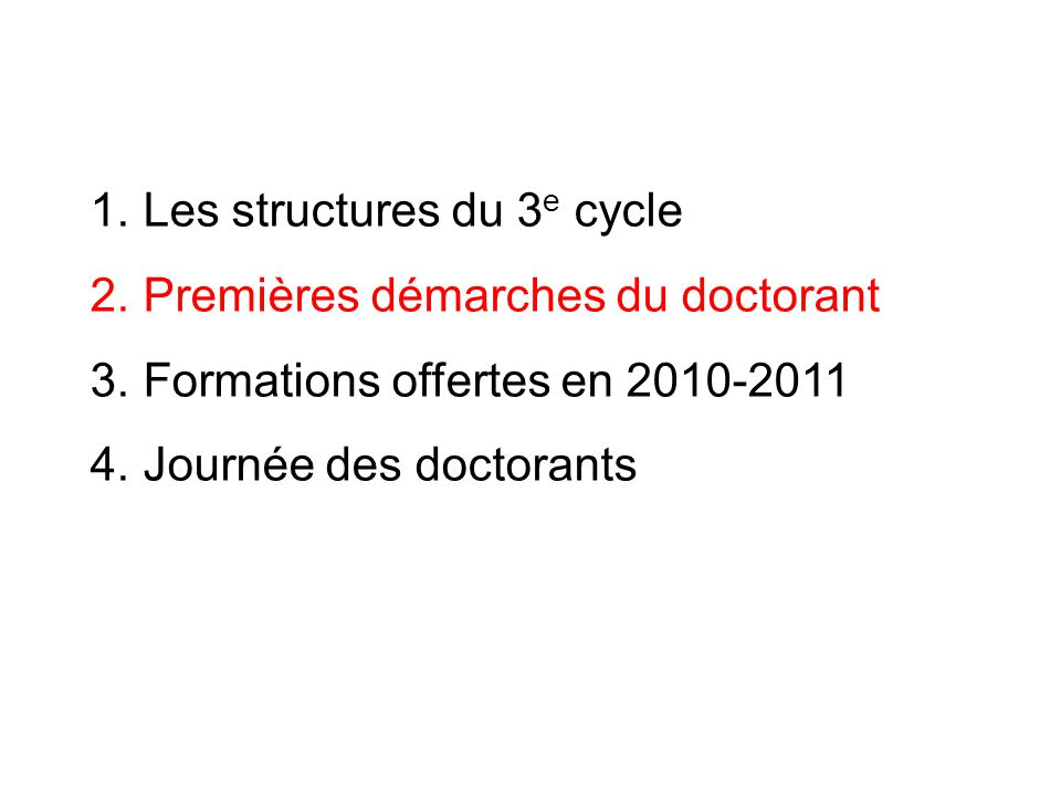 Les structures du 3e cycle