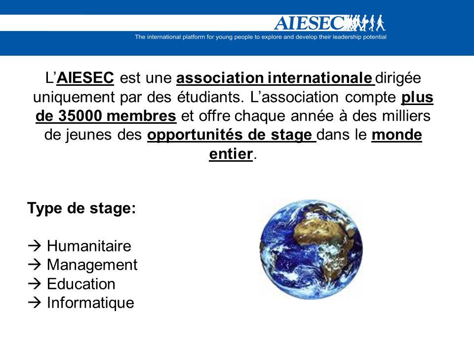 L'AIESEC est une association internationale dirigée uniquement par des étudiants. L'association compte plus de 35000 membres et offre chaque année à des milliers de jeunes des opportunités de stage dans le monde entier.