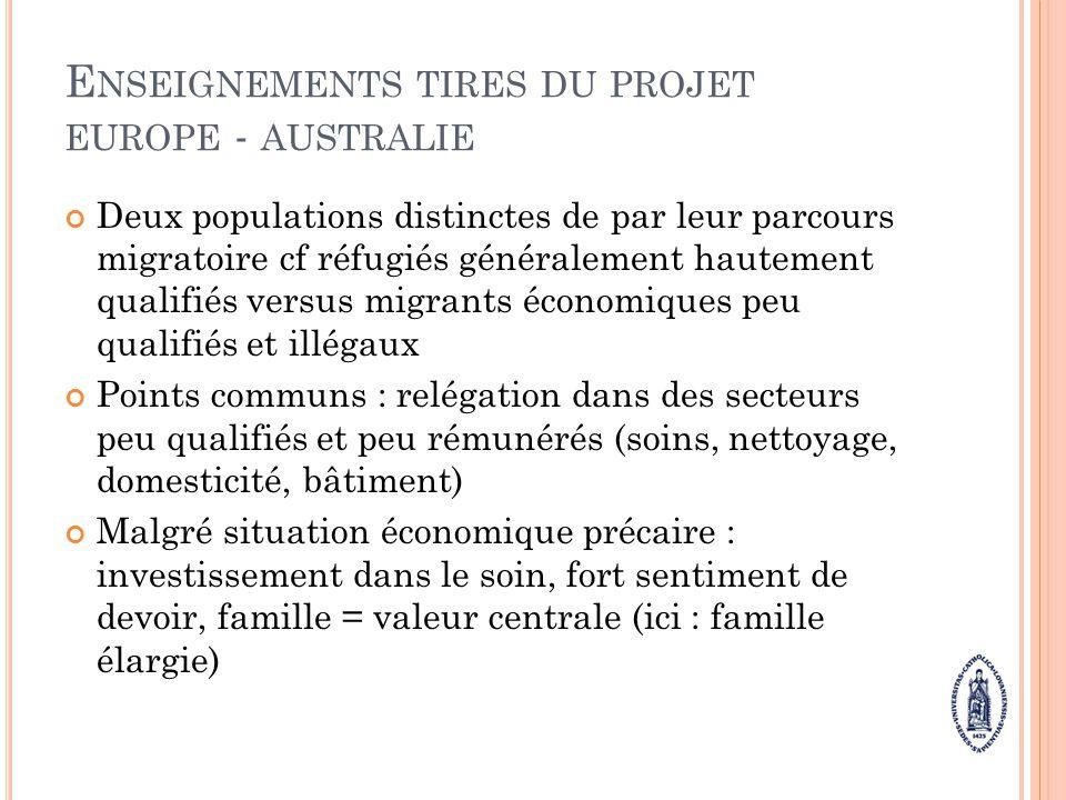Enseignements tires du projet europe - australie