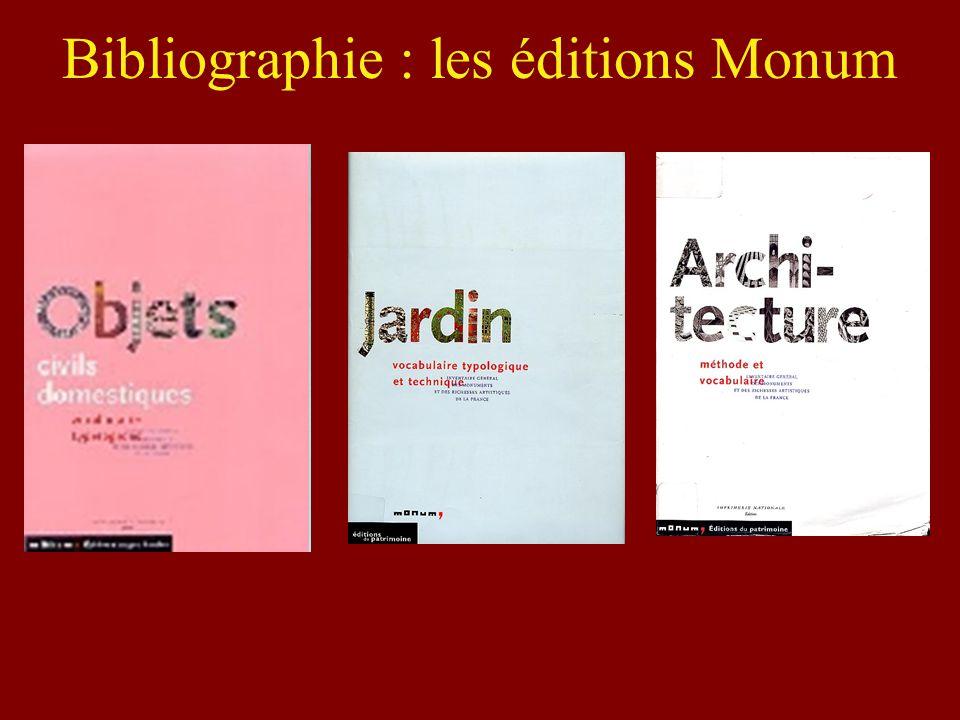 Bibliographie : les éditions Monum