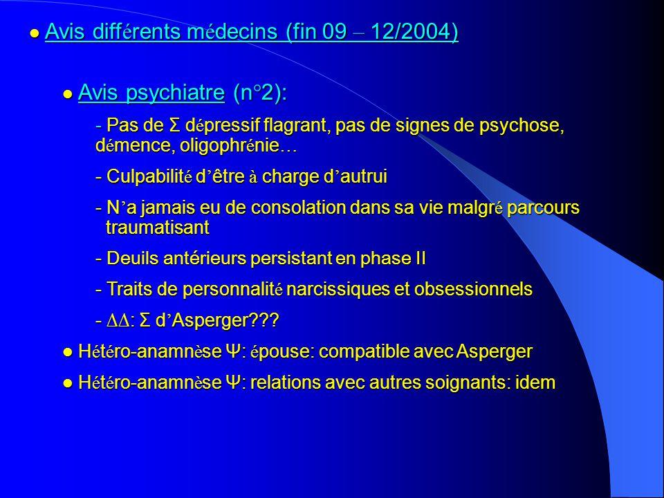 Avis différents médecins (fin 09 – 12/2004)