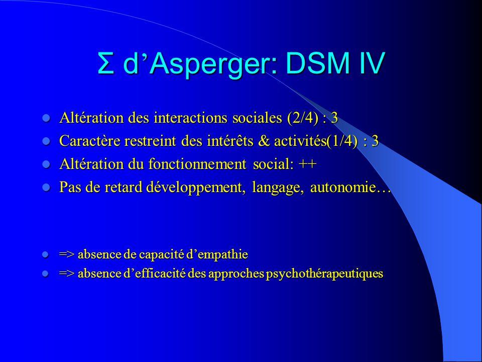 Σ d'Asperger: DSM IV Altération des interactions sociales (2/4) : 3