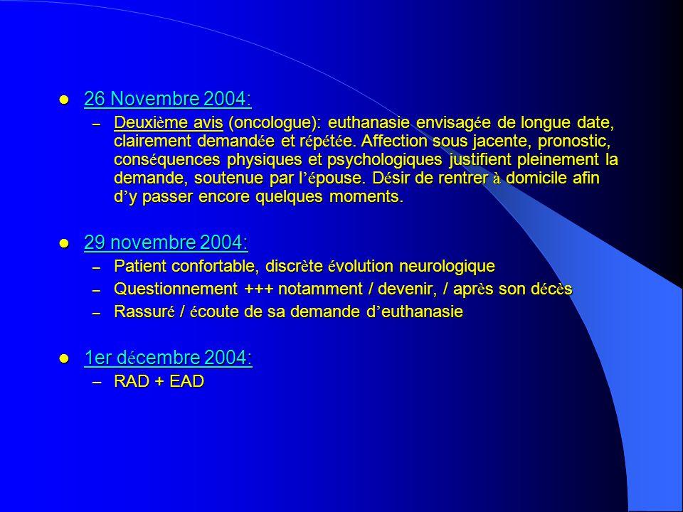 26 Novembre 2004: 29 novembre 2004: 1er décembre 2004: