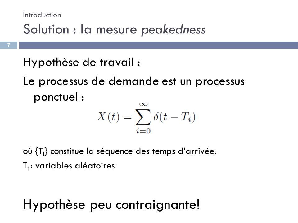 Introduction Solution : la mesure peakedness