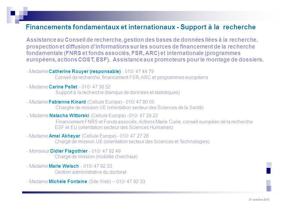 Financements fondamentaux et internationaux - Support à la recherche