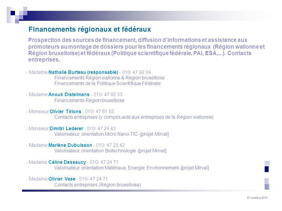 Financements régionaux et fédéraux