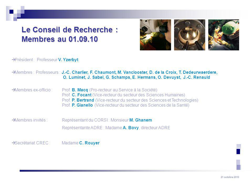 Le Conseil de Recherche : Membres au 01.09.10