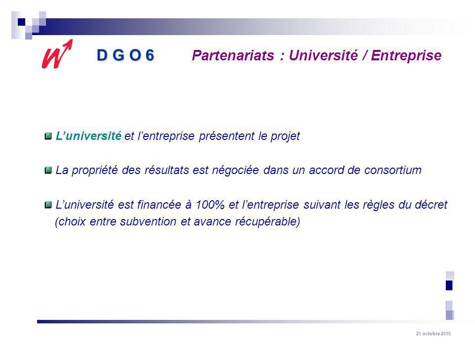 D G O 6 Partenariats : Université / Entreprise
