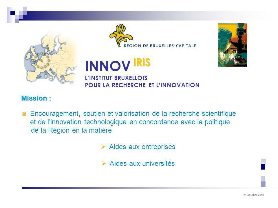IRIS INNOV. L'INSTITUT BRUXELLOIS. POUR LA RECHERCHE ET L'INNOVATION. Mission :