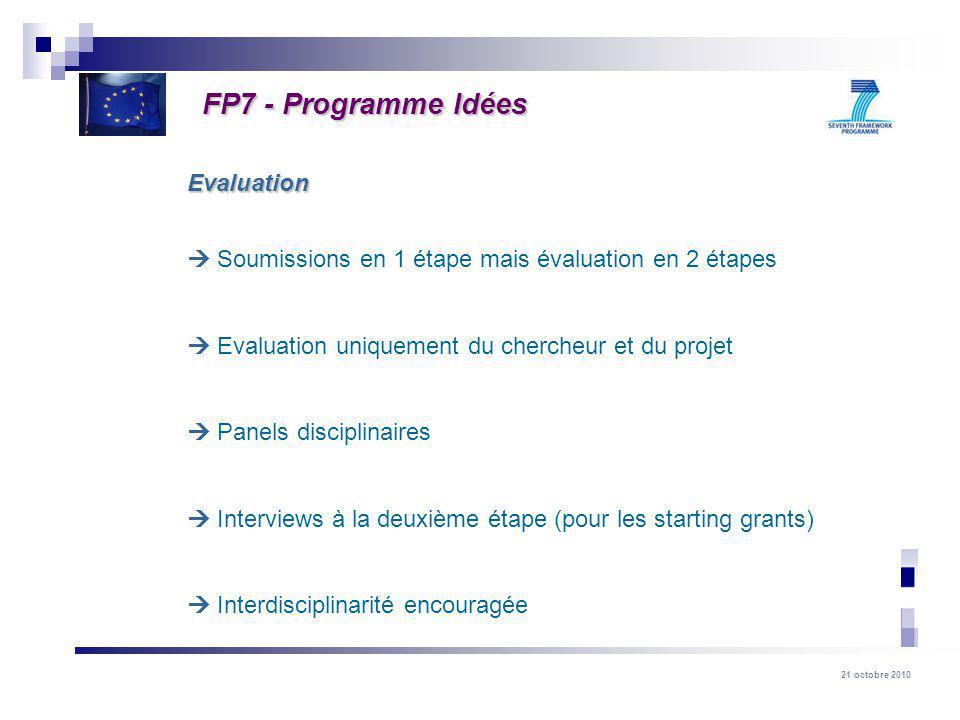 FP7 - Programme Idées Evaluation