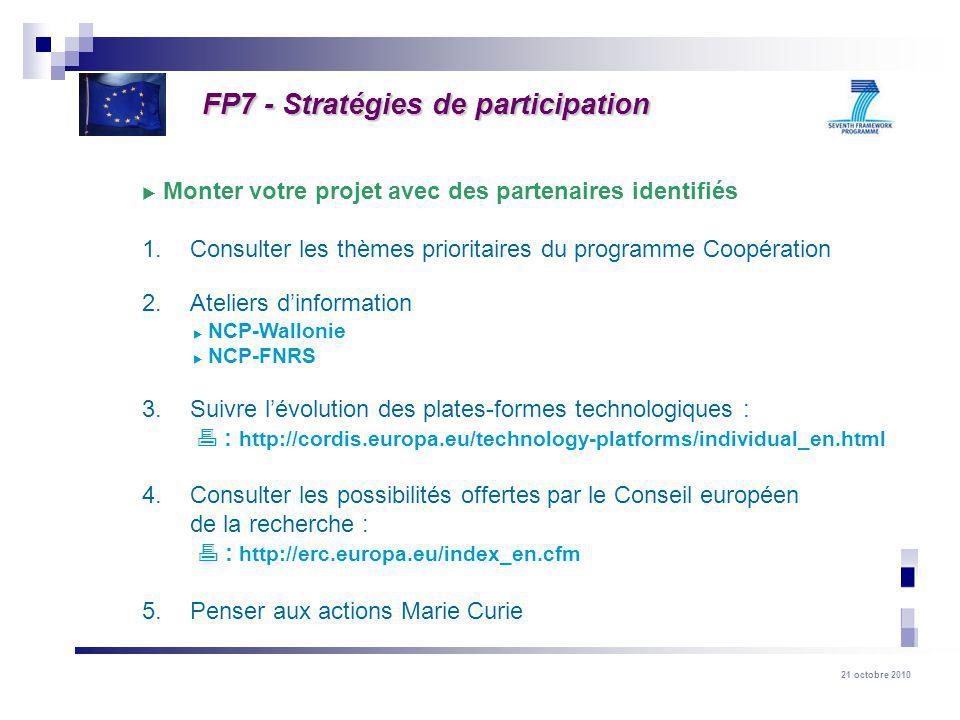 FP7 - Stratégies de participation