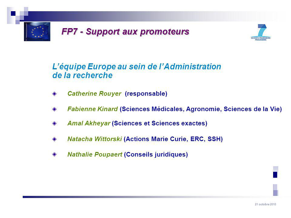 FP7 - Support aux promoteurs
