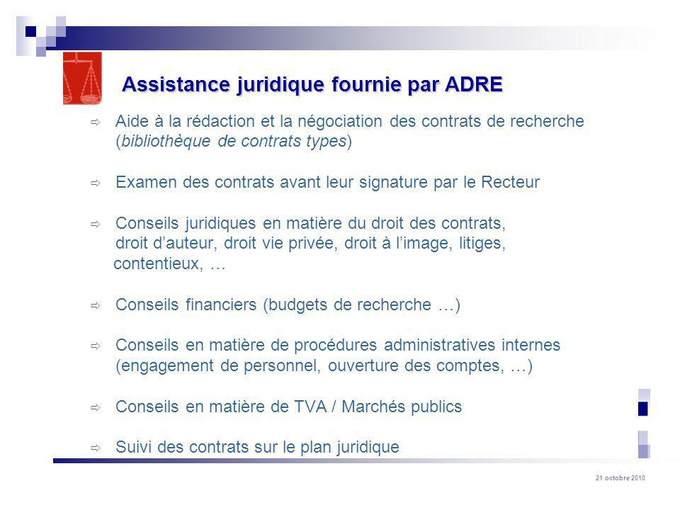 Assistance juridique fournie par ADRE