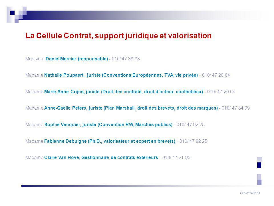 La Cellule Contrat, support juridique et valorisation