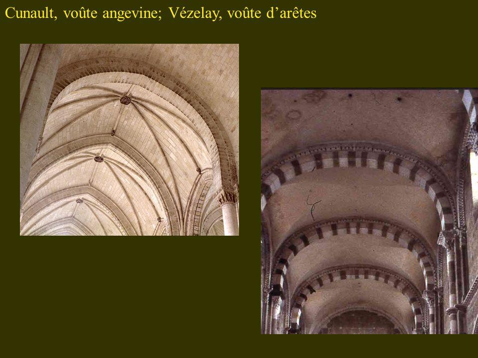 Cunault, voûte angevine; Vézelay, voûte d'arêtes