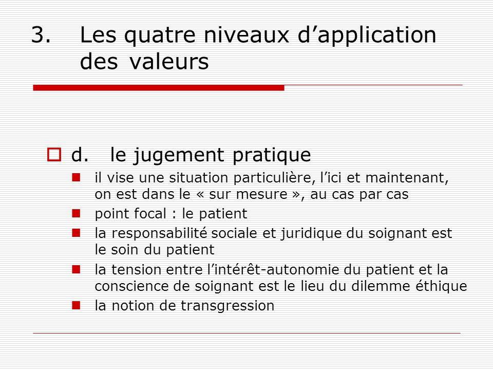 3. Les quatre niveaux d'application des valeurs