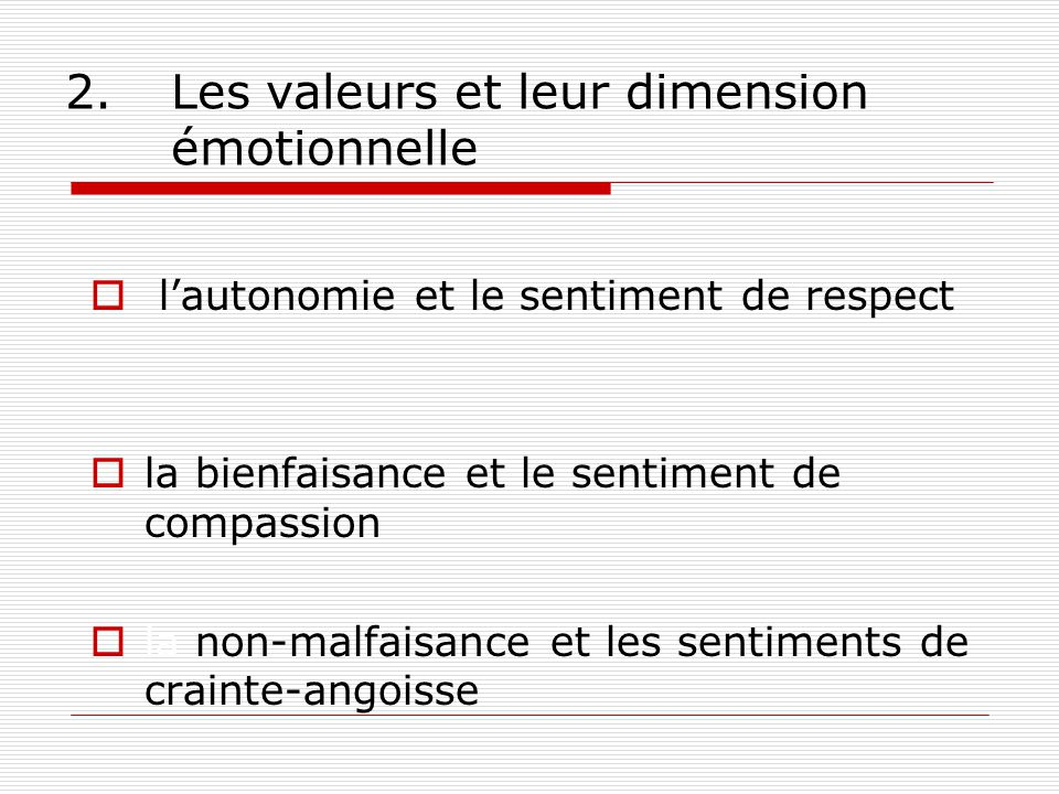 2. Les valeurs et leur dimension émotionnelle