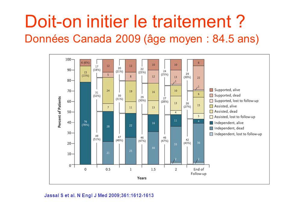 Doit-on initier le traitement. Données Canada 2009 (âge moyen : 84