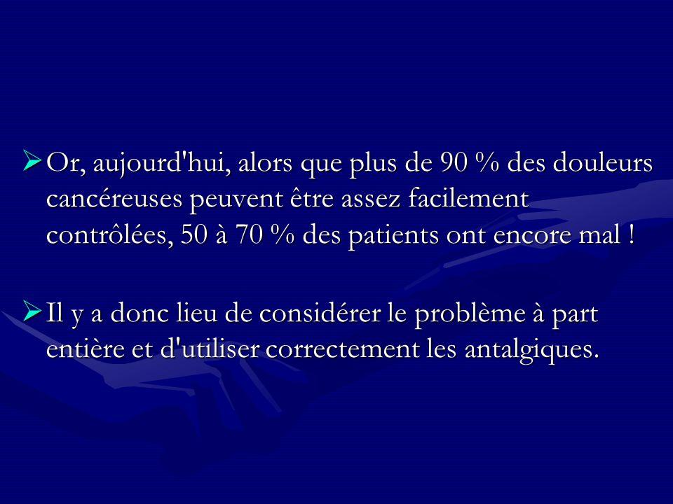 Or, aujourd hui, alors que plus de 90 % des douleurs cancéreuses peuvent être assez facilement contrôlées, 50 à 70 % des patients ont encore mal !