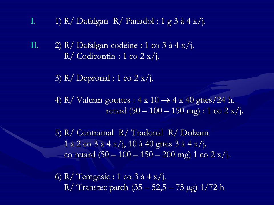 1) R/ Dafalgan R/ Panadol : 1 g 3 à 4 x/j.