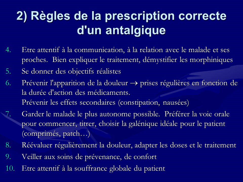 2) Règles de la prescription correcte d un antalgique