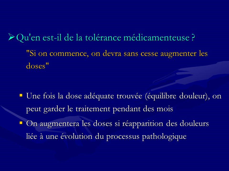 Qu en est-il de la tolérance médicamenteuse