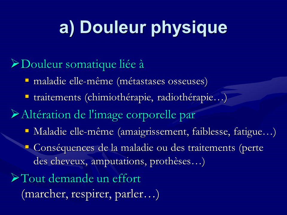 a) Douleur physique Douleur somatique liée à