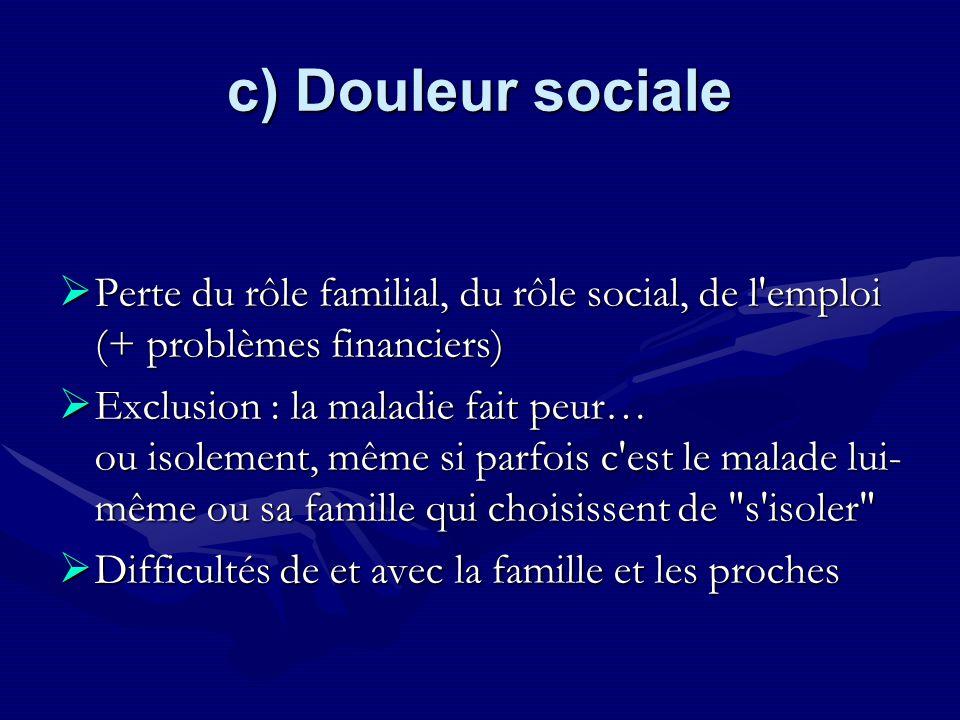 c) Douleur sociale Perte du rôle familial, du rôle social, de l emploi (+ problèmes financiers)