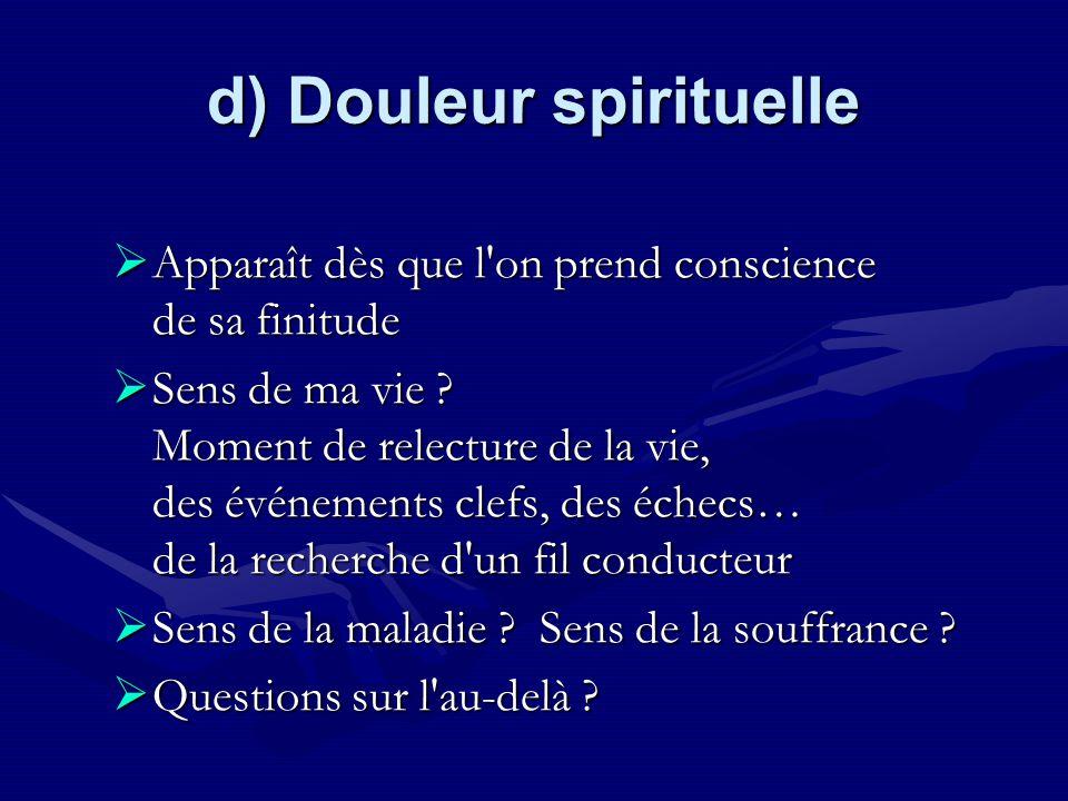 d) Douleur spirituelle