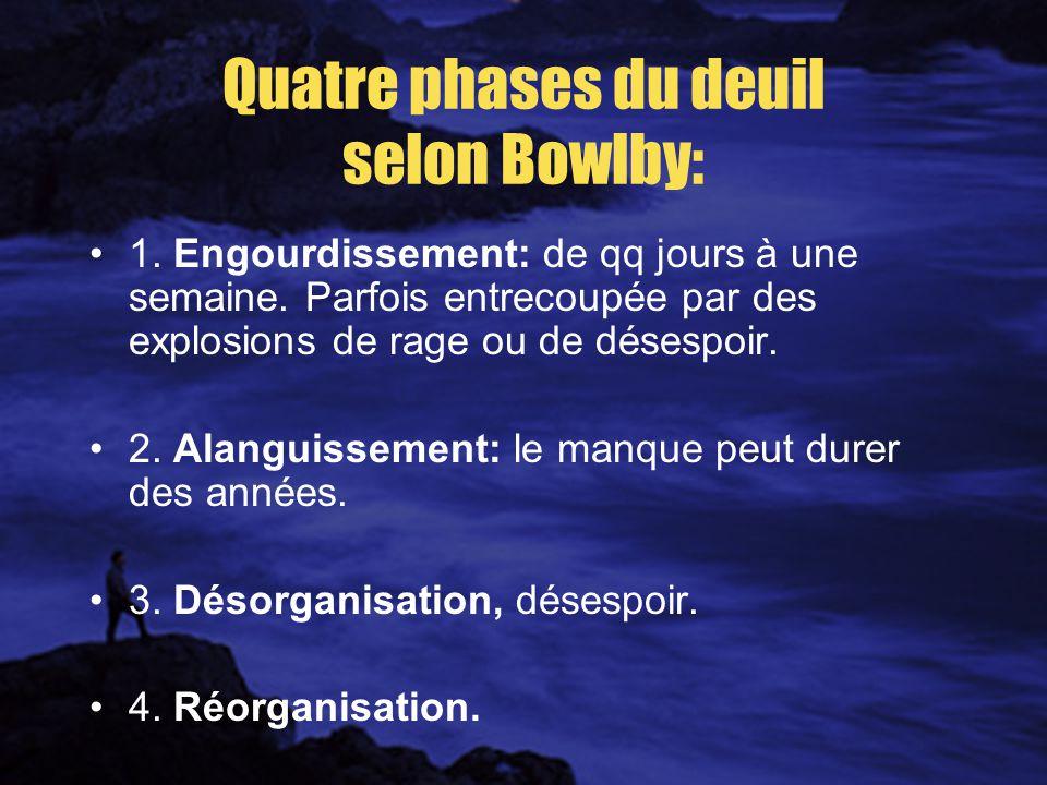 Quatre phases du deuil selon Bowlby: