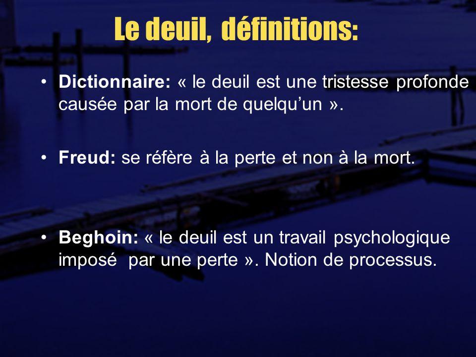 Le deuil, définitions: Dictionnaire: « le deuil est une tristesse profonde causée par la mort de quelqu'un ».