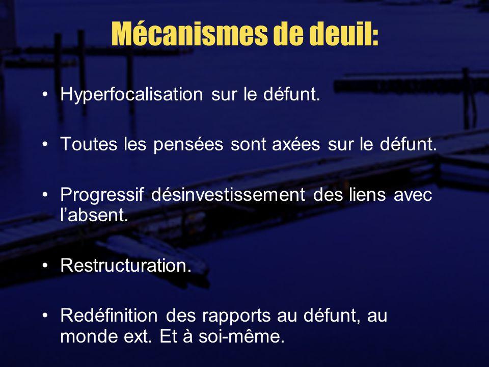 Mécanismes de deuil: Hyperfocalisation sur le défunt.