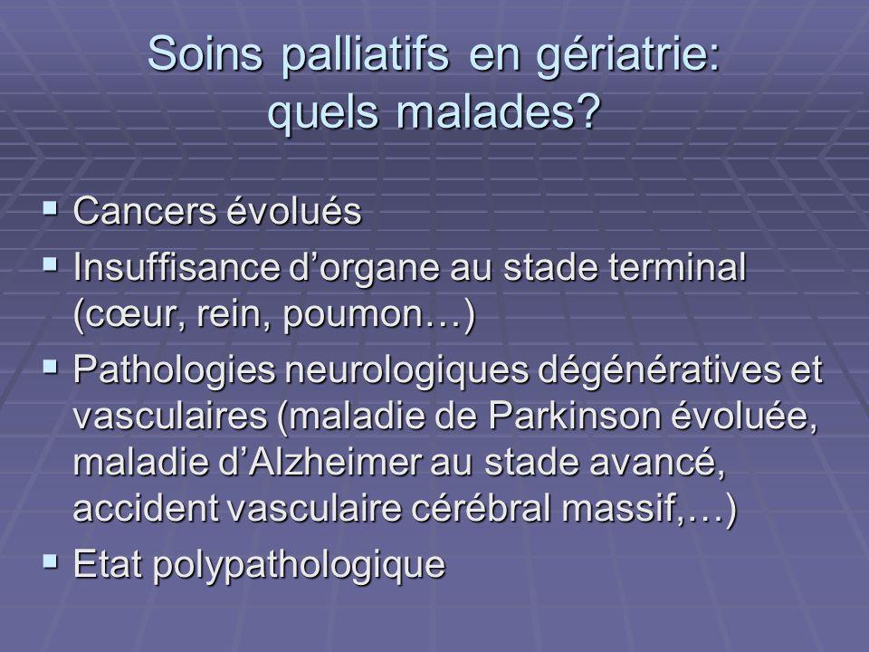 Soins palliatifs en gériatrie: quels malades