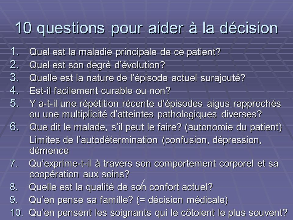 10 questions pour aider à la décision